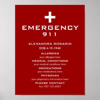Emergencia alerta médica póster