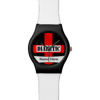 Emergencia diabética alerta médica reloj de mano