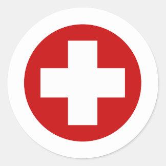 Emergencia suiza Roundell de la Cruz Roja Pegatina Redonda