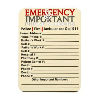 """Emergencia y números de teléfono importantes 3"""""""" iman de vinilo"""