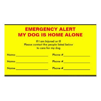 Emergency Alert Dog Home Alone Card Business Card