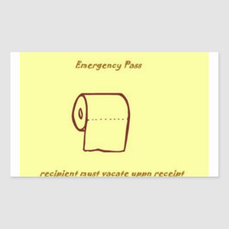 Emergency bathroom pass gag gift rectangular sticker