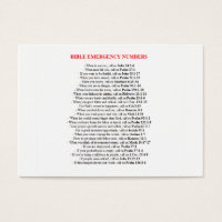 Numbered business cards templates zazzle emergency bible numbers cards colourmoves