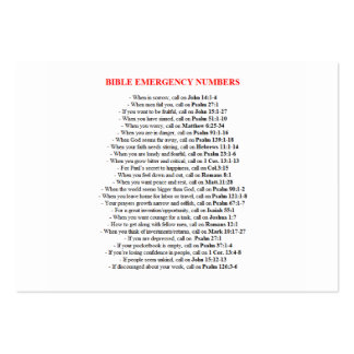Emergency Bible Numbers  CARDS Large Business Cards (Pack Of 100)