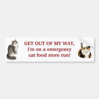 Emergency Cat Food Run Bumper Sticker