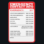 "Emergency Contact Information List Magnet<br><div class=""desc"">Emergency Contact Information List Magnet Keep all of your emergency contact information right on your refridgerator -- perfect for young children, babysitters, nannies and guests! Ensure you and your family always have quick, easy access to the most important phone numbers, including your own cell phone number and your home address....</div>"