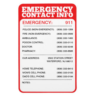 Emergency Number List Gifts on Zazzle