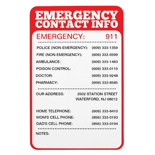 Emergency Contact Information List Magnet | Zazzle.com