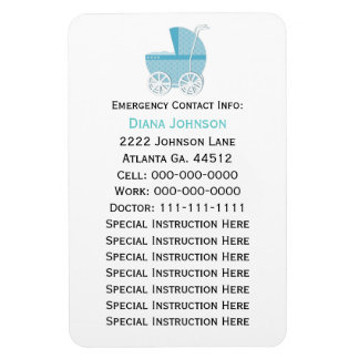 Emergency Contact Magnet: Blue Baby Carriage Rectangular Photo Magnet