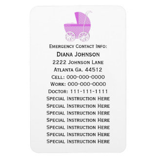 Emergency Contact Magnet: Pink Baby Carriage Rectangular Photo Magnet