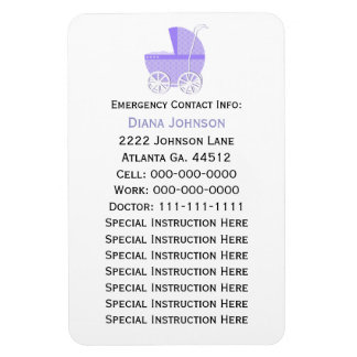 Emergency Contact Magnet: Purple Baby Carriage Rectangular Photo Magnet