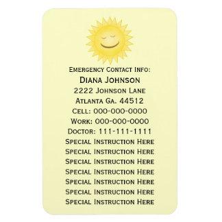 Emergency Contact Magnet: Smiling Sun Rectangular Photo Magnet