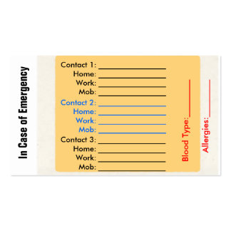 Emergency Contact Purse Cards
