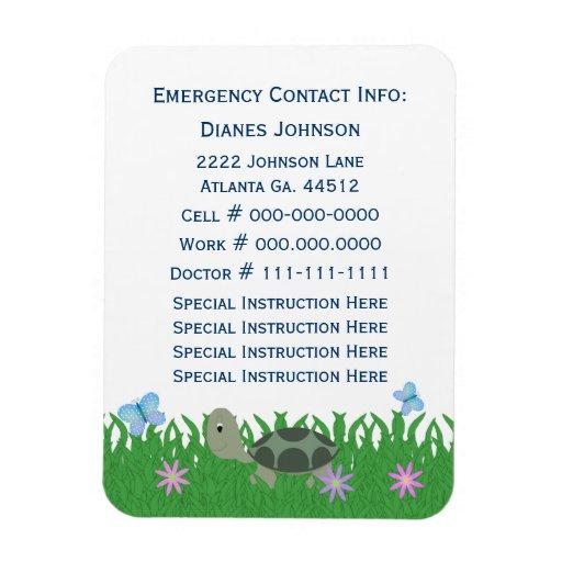 Emergency Contact: Turtle:  Premium Magnet