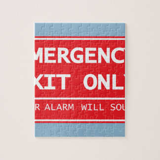 Emergency Exit Only Door Alarm Will Sound Sign Jigsaw Puzzle