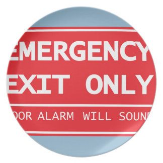 Emergency Exit Only Door Alarm Will Sound Sign Melamine Plate