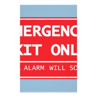 Emergency Exit Only Door Alarm Will Sound Sign Stationery