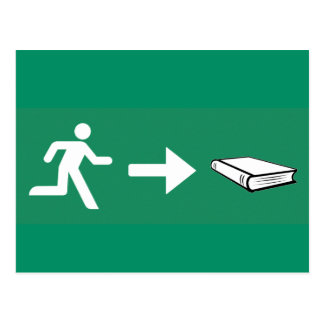 Emergency exit to the book for bookworms & read ra postcard
