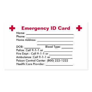 Emergency ID Card Business Card