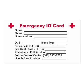 Emergency ID Card Double-Sided Standard Business Cards (Pack Of 100)