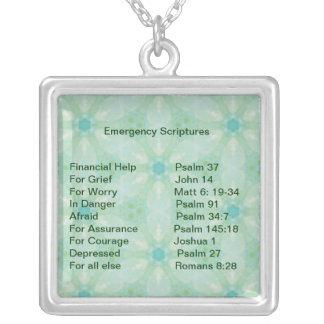 Emergency Information Scriptures for Encouragement Square Pendant Necklace