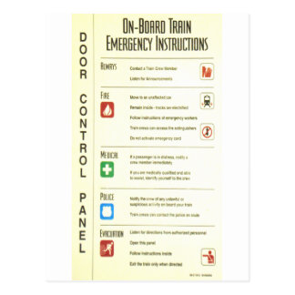 Emergency Instructions Stationary Set Post Card