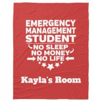 Emergency Management College Major No Sleep Money Fleece Blanket