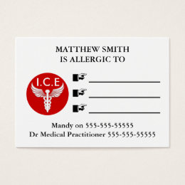 Emergency medical alert | Personalize Business Card