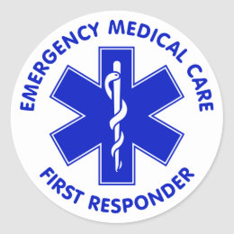 Emergency Medical Care First Responder Classic Round Sticker