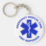 Emergency Medical Care First Responder Basic Round Button Keychain