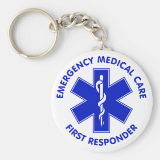 Emergency Medical Care First Responder Basic Round Button Keychain