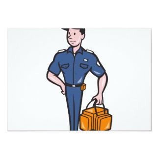 Emergency Medical Technician Paramedic EMT Cartoon 5x7 Paper Invitation Card
