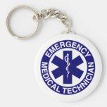 EMERGENCY MEDICAL TECHNICIANS EMT BASIC ROUND BUTTON KEYCHAIN