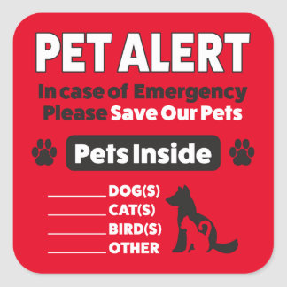 Emergency Pet Alert, Large, 3 inch (sheet of 6) Square Sticker