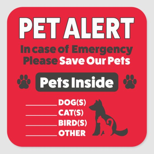 PET ALERT STICKER - Dogs and Cats Emergency Rescue, Please Save Our Pets  Decal
