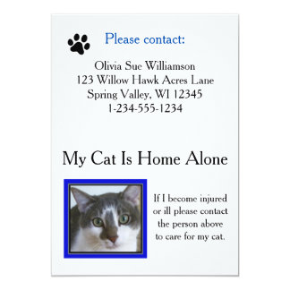 Emergency Pet (Cat) Care Wallet Card