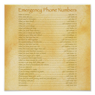 Emergency Phone Numbers Poster