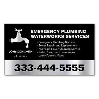 Emergency Plumbing Waterworks Service Black Metal Business Card Magnet