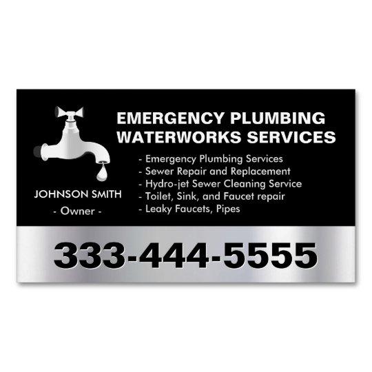 Emergency plumbing waterworks service black metal business card emergency plumbing waterworks service black metal business card magnet colourmoves