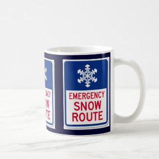 emergency snow route classic white coffee mug