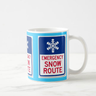 emergency snow route sign classic white coffee mug