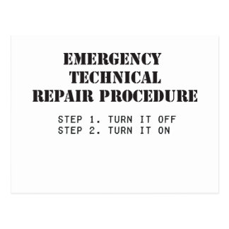 Emergency Technical Repair Procedure Postcard