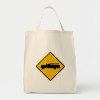 Emergency Vehicle Warning, Traffic Sign, USA Grocery Tote Bag