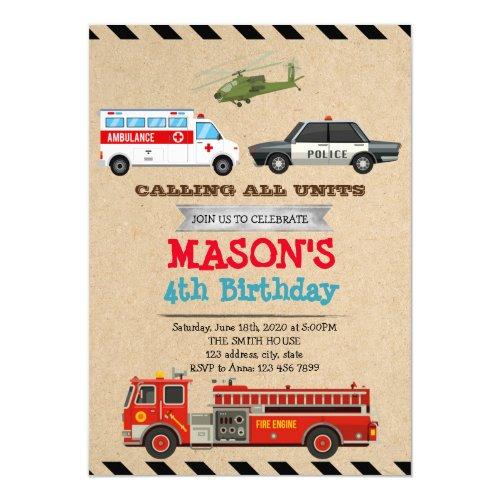 Emergency Vehicles Birthday invitation