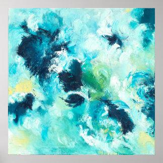 Emerging - Blue Green Abstract Art Poster