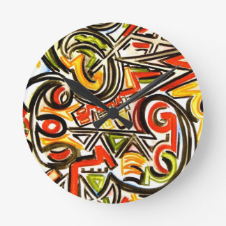 Emerging Butterfly-Abstract Art Hand Painted Round Clock