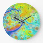 Emerging Galaxies Abstract Fractal Teal Lime Flow Wall Clocks