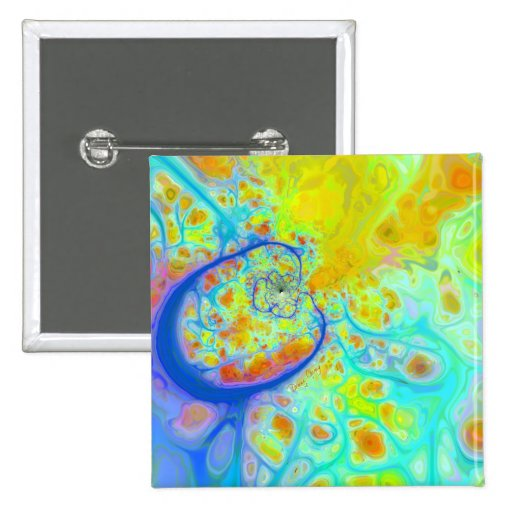 Emerging Galaxies – Teal & Lime Currents 2 Inch Square Button