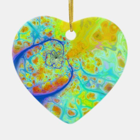 Emerging Galaxies – Teal & Lime Currents Ceramic Ornament