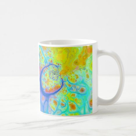 Emerging Galaxies – Teal & Lime Currents Coffee Mug
